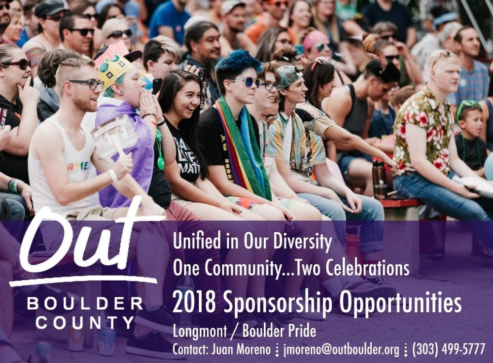 Are you interested in hosting a booth or sponsoring Pridefest? Please contact Juan Moreno at  jmoreno@outboulder.org ,  visit vendor information , or  visit sponsor information .