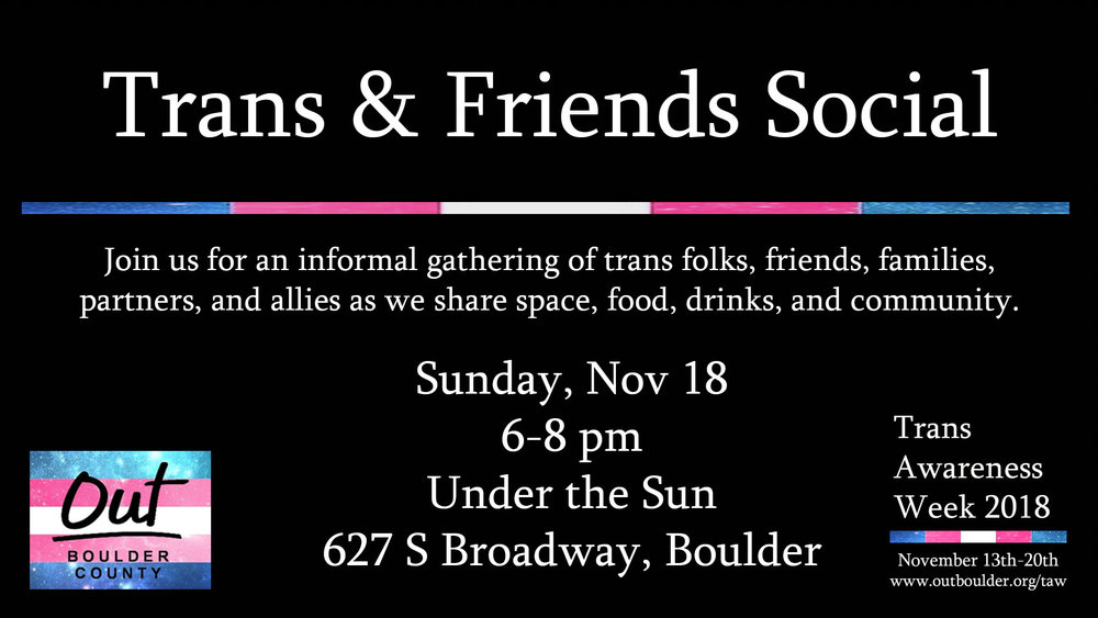 Join us for an informal gathering of trans folks, friends, families, partners, and allies as we share space, food, drinks, and community.  Drop in and stay as long as you can!     Facebook Event Info
