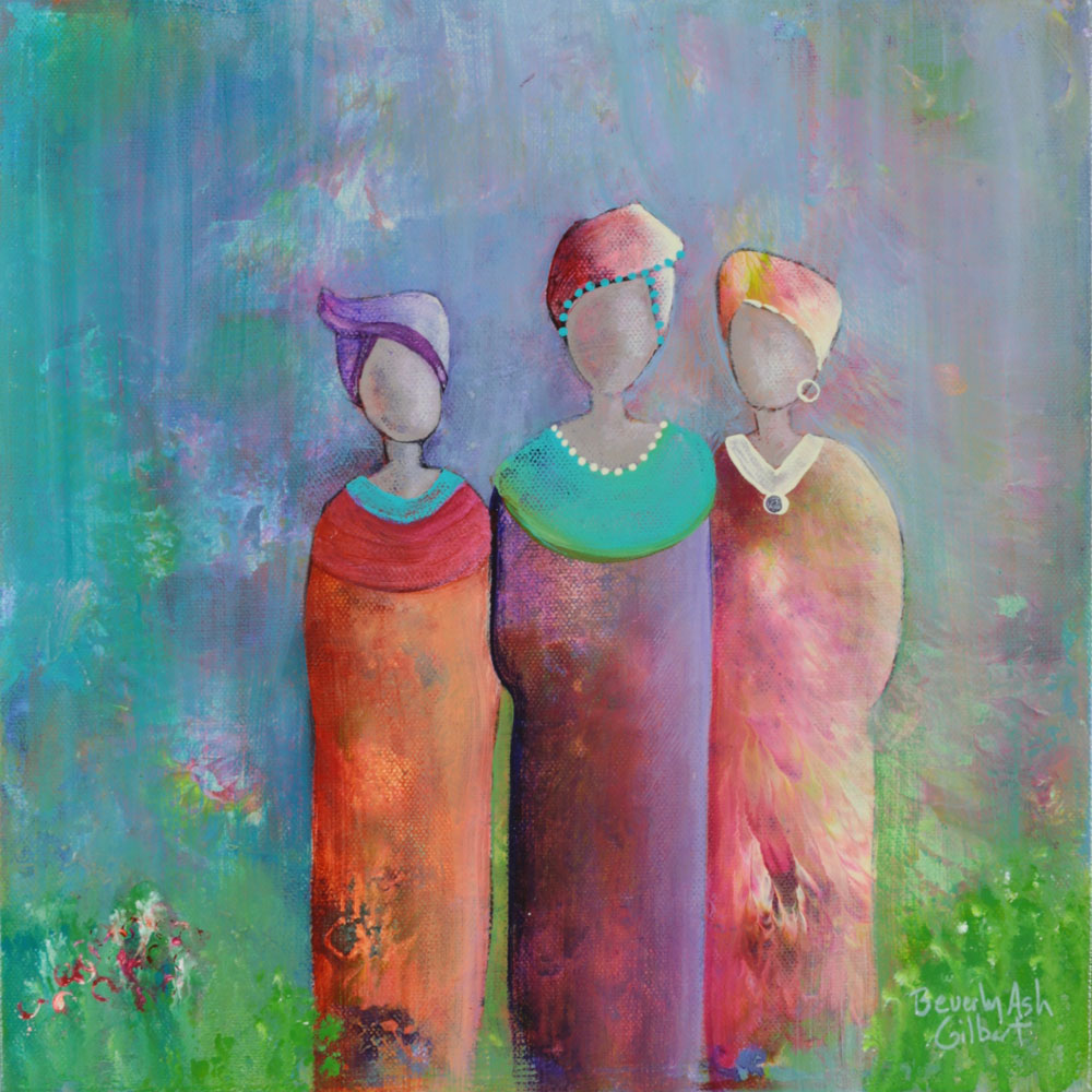 Not Afraid To Wear Color - It Takes A Village Painting Collection - Beverly Ash Gilbert