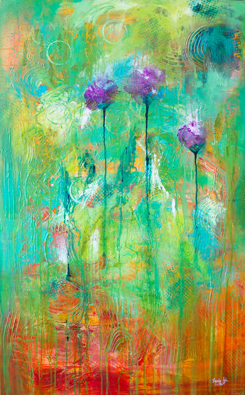 Three Purple Poppies - Blooms Painting Collection - Beverly Ash Gilbert
