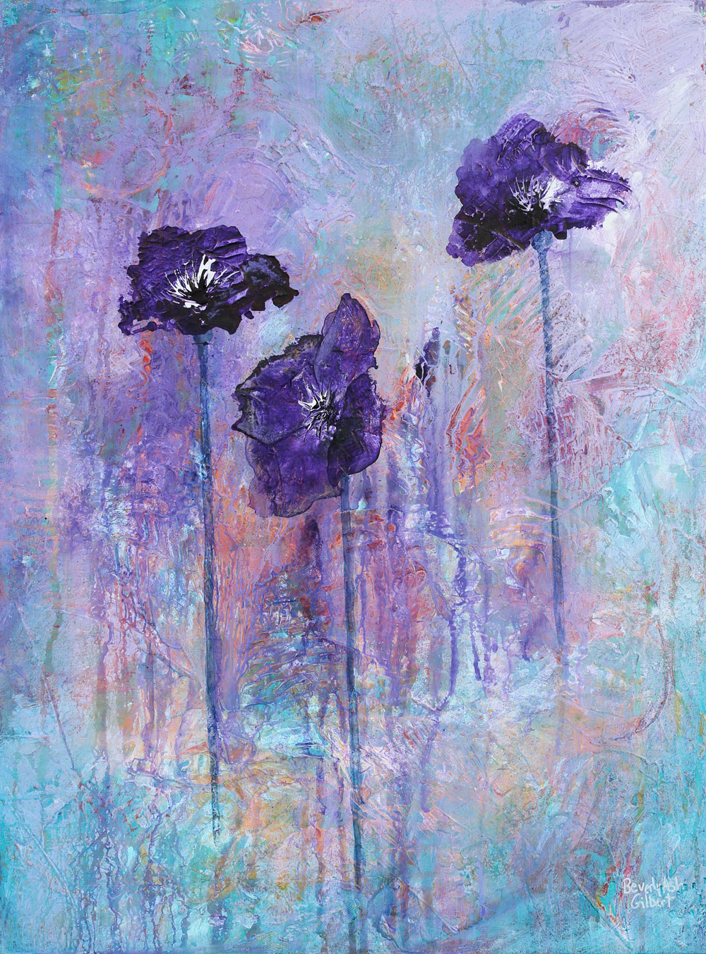 In A Purple Field - Blooms Painting Collection - Beverly Ash Gilbert