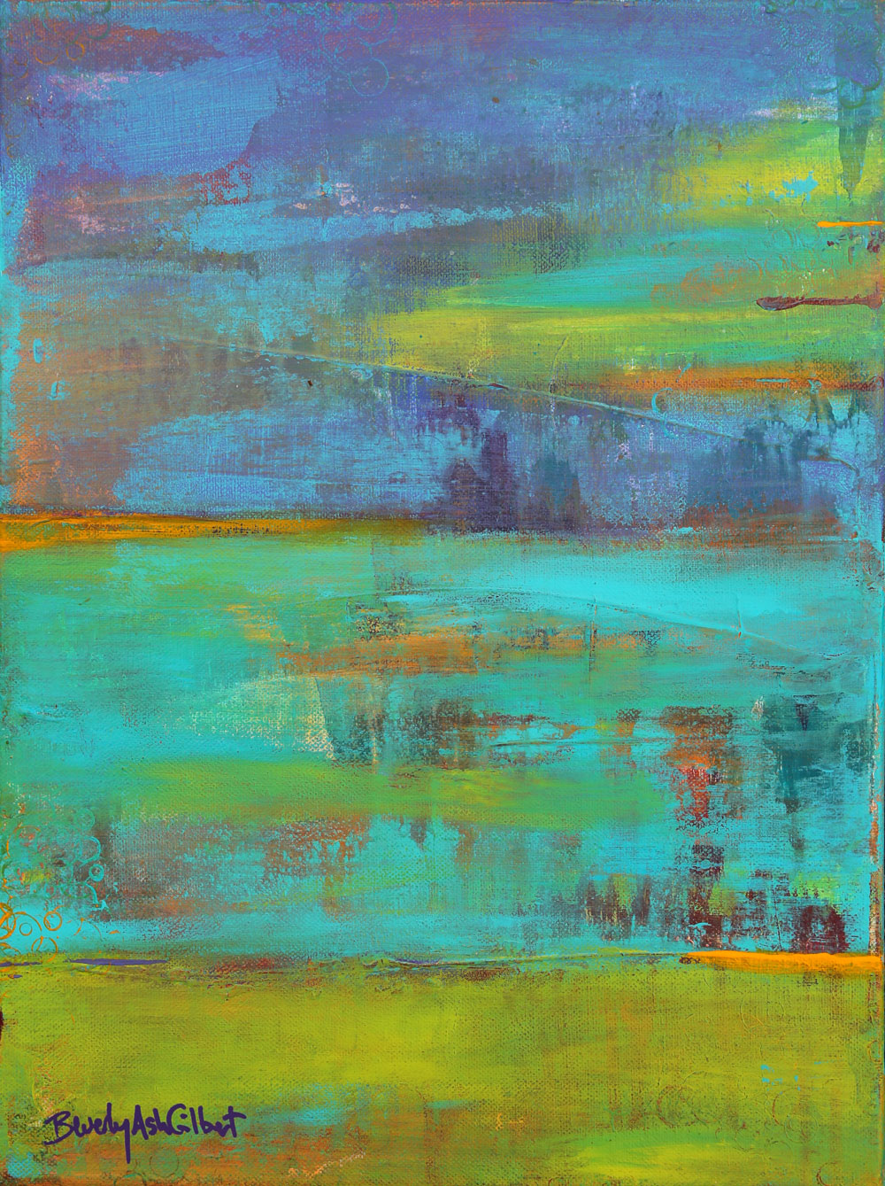 Abstract Purple, Teal, Chartreuse - Color Play Painting Collection - Beverly Ash Gilbert