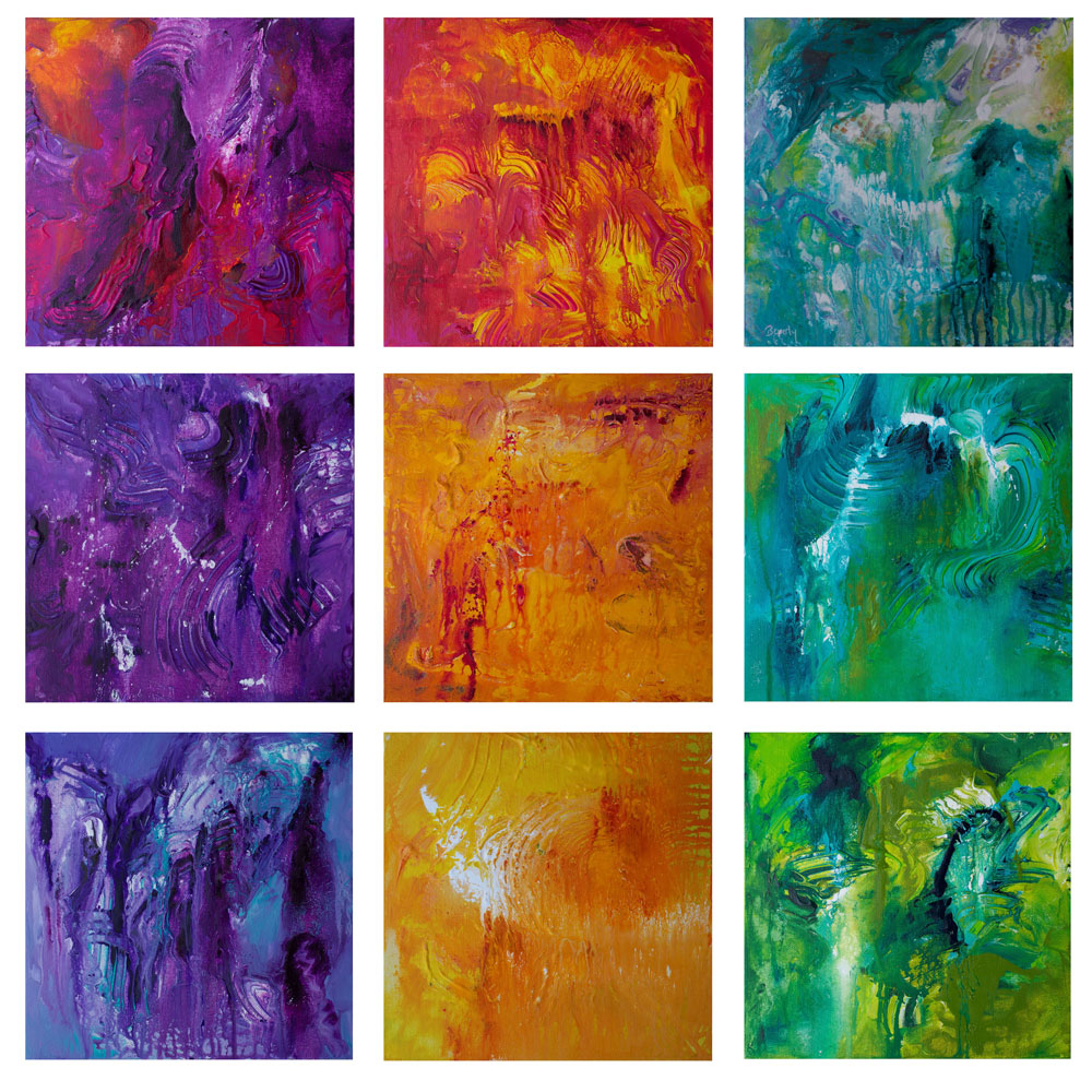 Color Grid: Purple, Orange, Teal - Color Play Painting Collection - Beverly Ash Gilbert