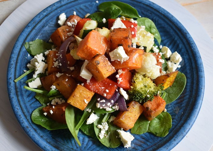 roasted honey pumpkin with feta salad