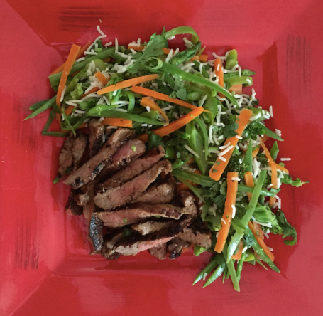 honey ginger beef with rice vegetable salad