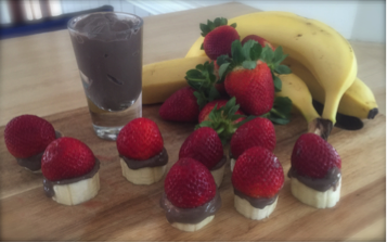 strawberry and banana stack with chocolate custard