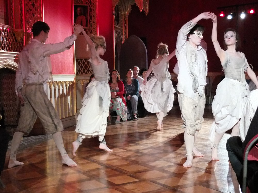 "Dance of the Ghosts in ""Sign of the Strawberry"", set in the beautiful ballroom of Strawberry Hill House"