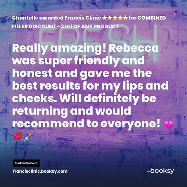 We love our clients and we love reading their reviews of our excellent work. Francis Clinic is here for YOU guys 🥰 #lipgoals #lipaugmentation #injectables #aesthetics #beauty #fillerseastsussex #dermalfillers #dermalfiller #naturallipfiller #cosmetictreatment #lipboss #lipenvy #naturallips #lipinjections #lipgloss #lipfillers #lippic #perfectpout #teartroughfillers #cheekfillers #jawlinefiller #dermatologist #dermaplaning #chemicalpeel #cupidsbow #facialaesthetics #antiwrinkleinjections #jawfiller