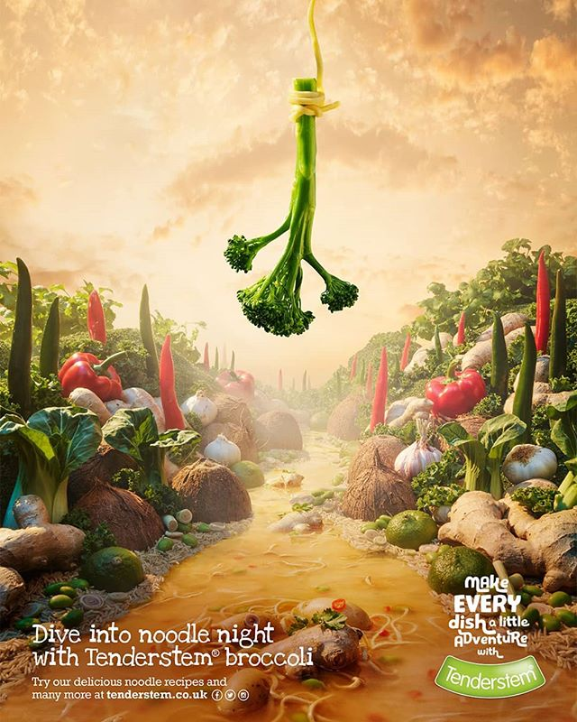 Discover the 3rd image from the series by @carlwarner5188, food photographer, for the new adventurous @tenderstem®  advertising campaign in collaboration with Mccann Bristol (@mccannlondon  @mccann_manchester @mccann_paris @mccan_worldgroup_germany @mccann_ww), displaying Tenderstem®'s hero bungee jumping into a noodle dish 3/4.  Find more about the project on @thebunkeragency's website on: https://www.the-bunker.com/portfolio_page/tenderstem/.
