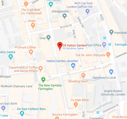 Find us @ 35 Hatton Garden, London EC1N, UK