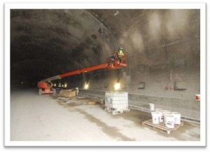 Crews working on the final concrete liner of the tunnel.