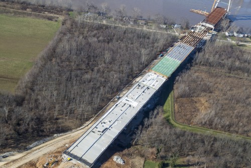 Construction on the Kentucky approach bridge, just north of River Road.