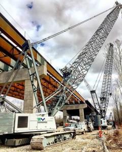 Structural steel work on the Kentucky approach bridge.