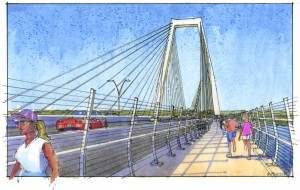 - East End Bridge illustration of pedestrian & bicycle lane