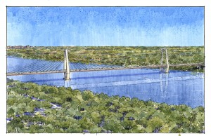 - Illustration of East End Bridge from afar