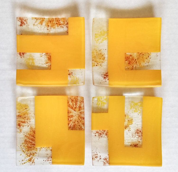 Square Glass Plates, Yellow, Orange, Red
