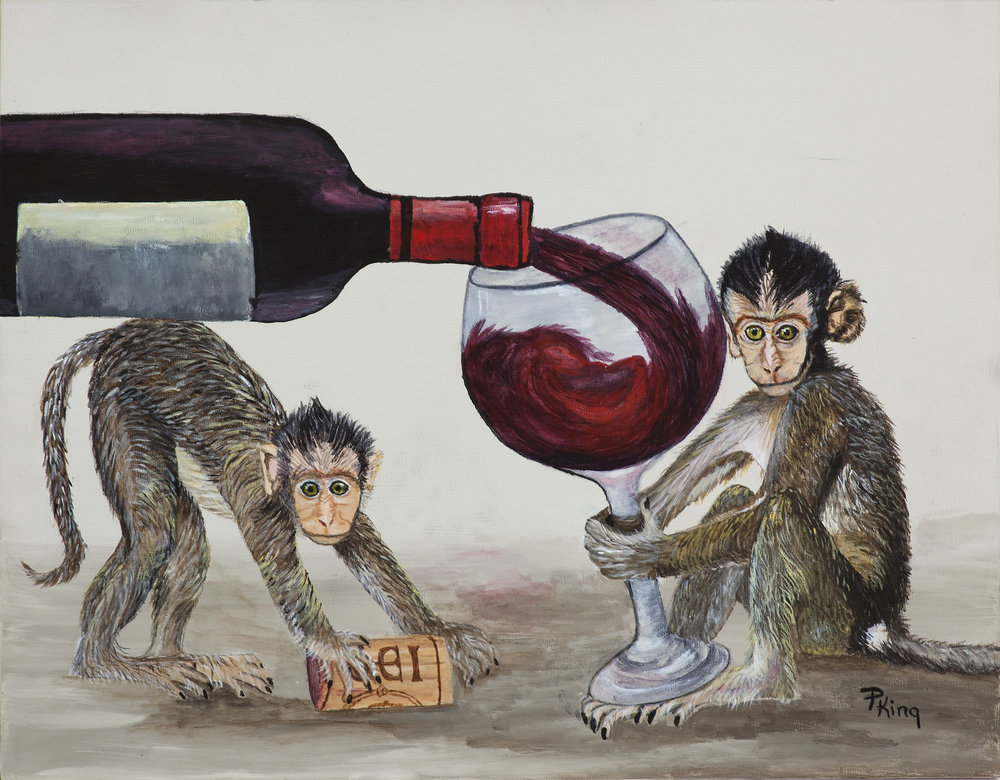 """""""WINE MONKEYS II"""",  Acrylicon Canvas Board,  14x11 inches,  SOLD"""