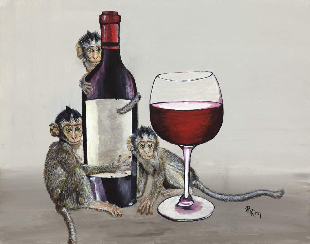 """""""WINE MONKEYS I"""",  Acrylic on Canvas Board,  14x11 inches,  SOLD"""