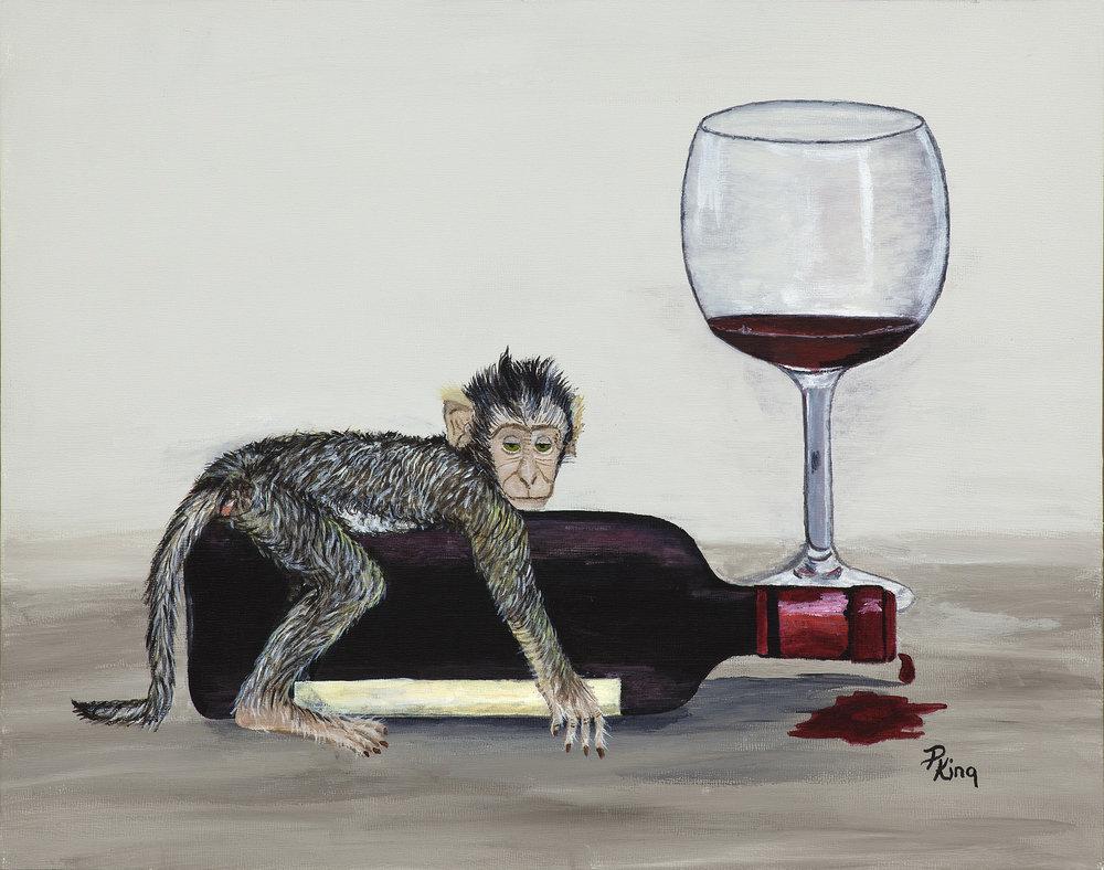 """WINE MONKEYS III"",  Acrylic on Canvas Board,  14x11 inches,  SOLD"