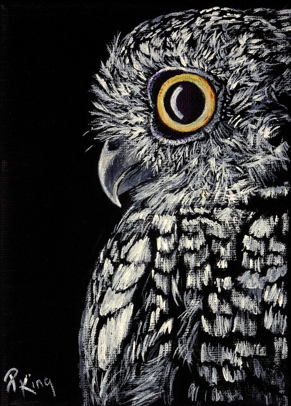 """""""SCREECH OWL"""",  Acrylic on Wrapped Canvas,  5x7x5/8 inches,  $75"""