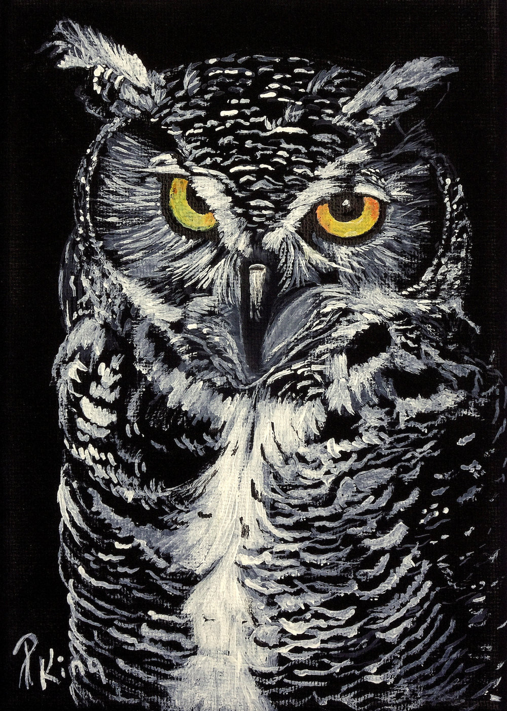 """""""GREAT HORNED OWL"""",  Acrylic on Wrapped Canvas,  5x7x5/8 inches,  SOLD"""