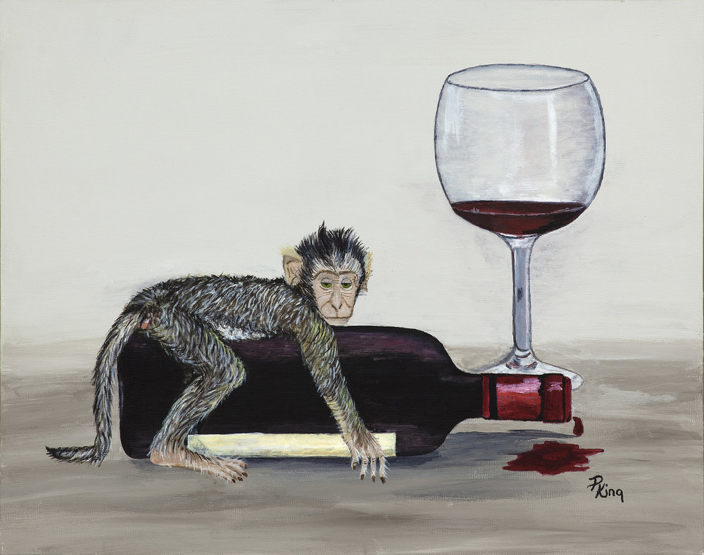 """WINE MONKEYS III"",  Giclee Print on Paper,  8x10 inches $55,  11x14 inches $75"