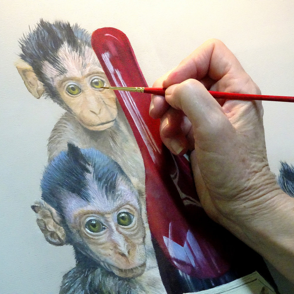 Peggy King at work on WINE MONKEYS Painting