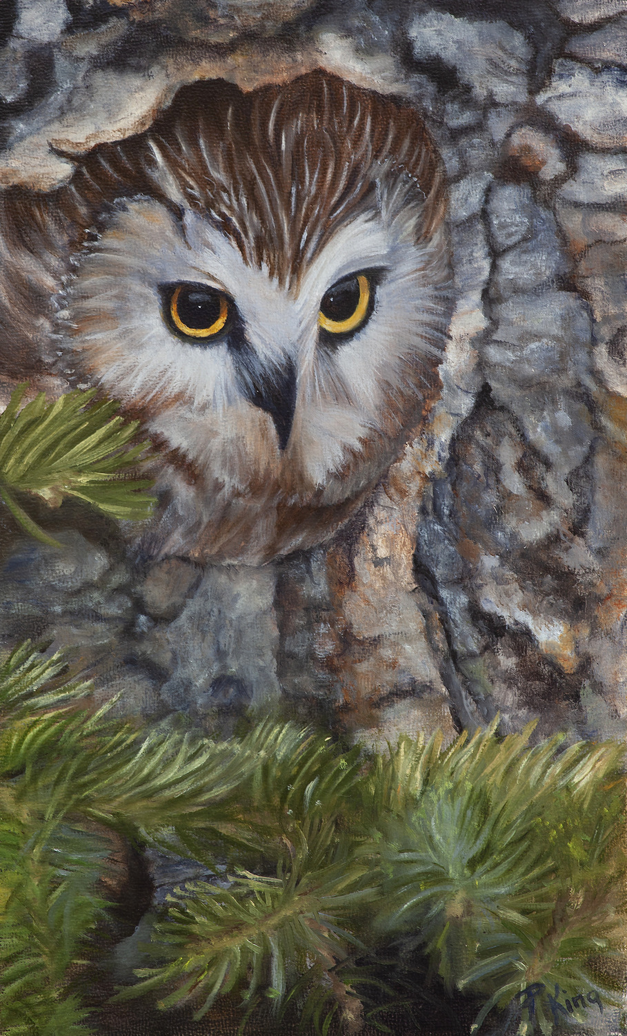 """WHET OWL"",  Oil on Canvas Board,  6x10 inches,  SOLD"