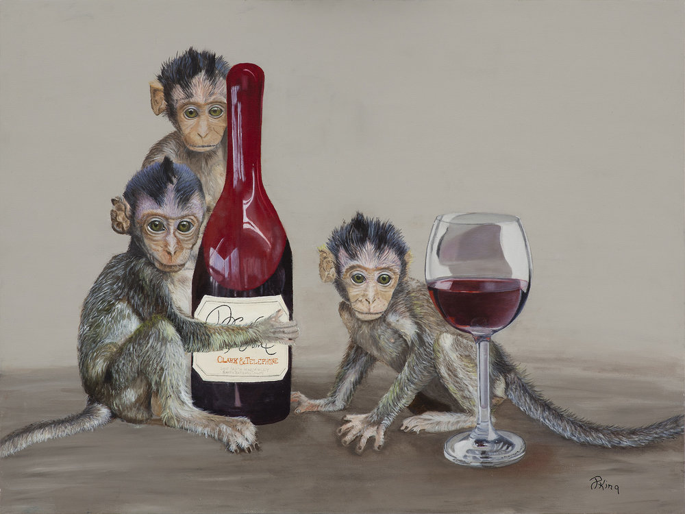 """""""SERIOUS WINE MONKEYS"""",  Oil on Canvas Board,  24x18 inches,  SOLD"""