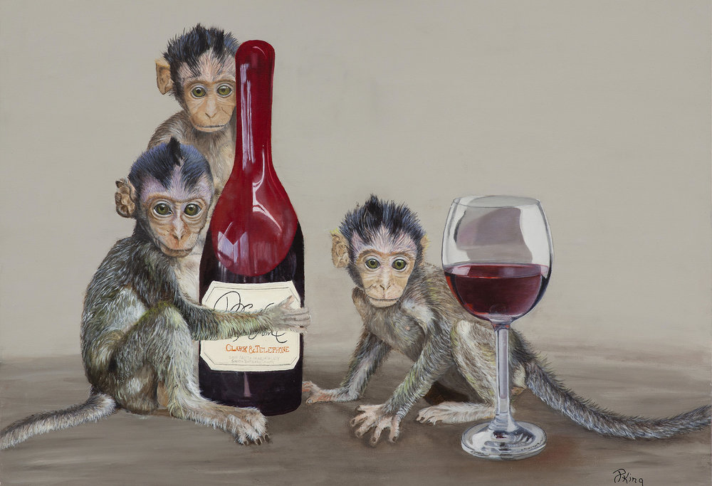 Wine Monkeys, Humorous Fine Art Wildlife Painting, Peggy King