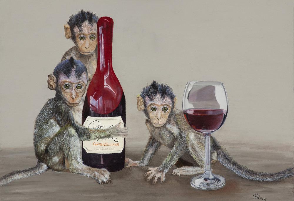 Wine Monkeys, Humorous Fine Art Wildlife Painting, Peggy King