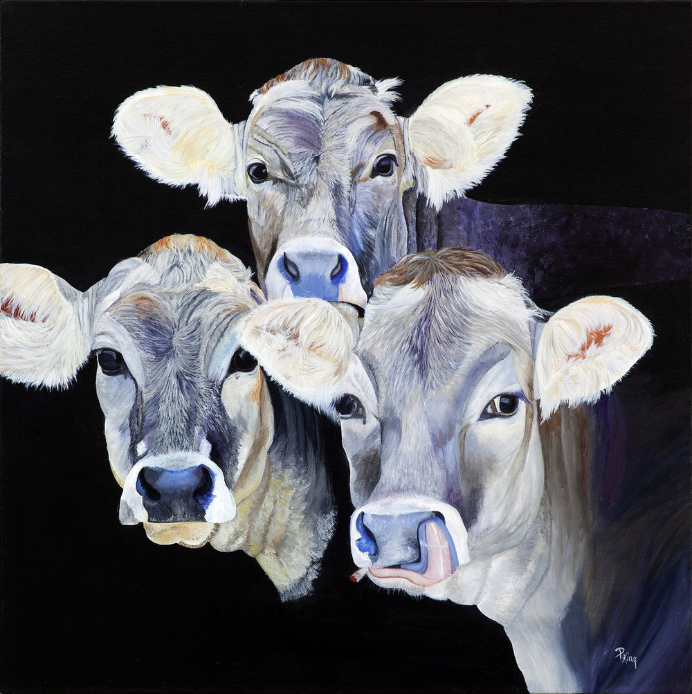 """COWS IN THE WEEDS"",  Giclee Print on Paper,  8.5x8.5 inches,  $70,  14x14 inches,  $90"