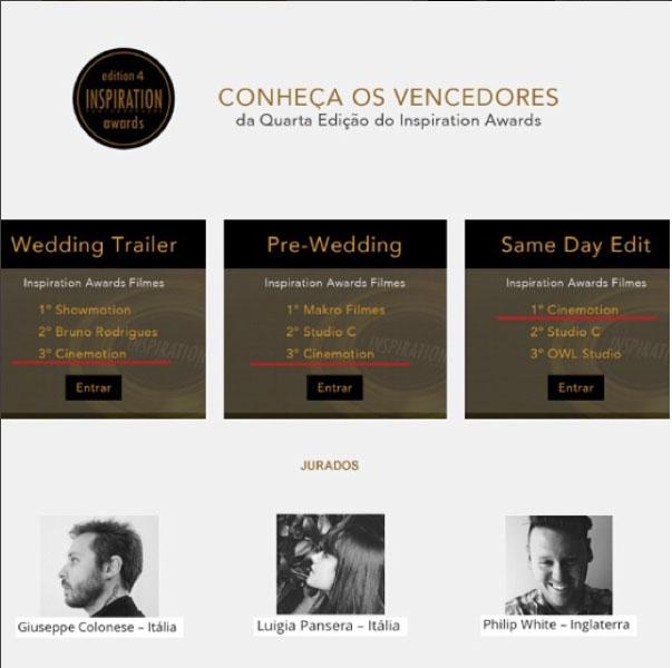 3 prêmios em 2014 no Inspiration Photographers