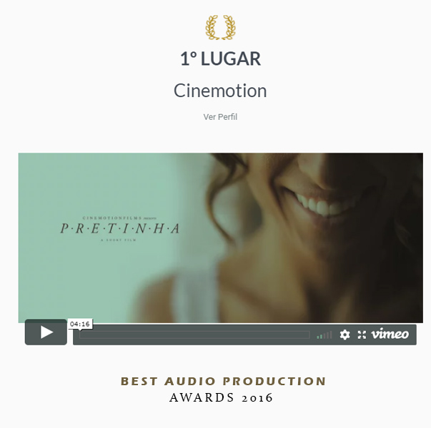 1 lugar Best áudio Production, Awards 2016