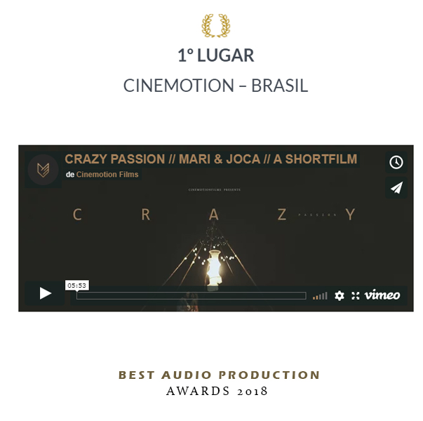 1 lugar Best Áudio Production 2018