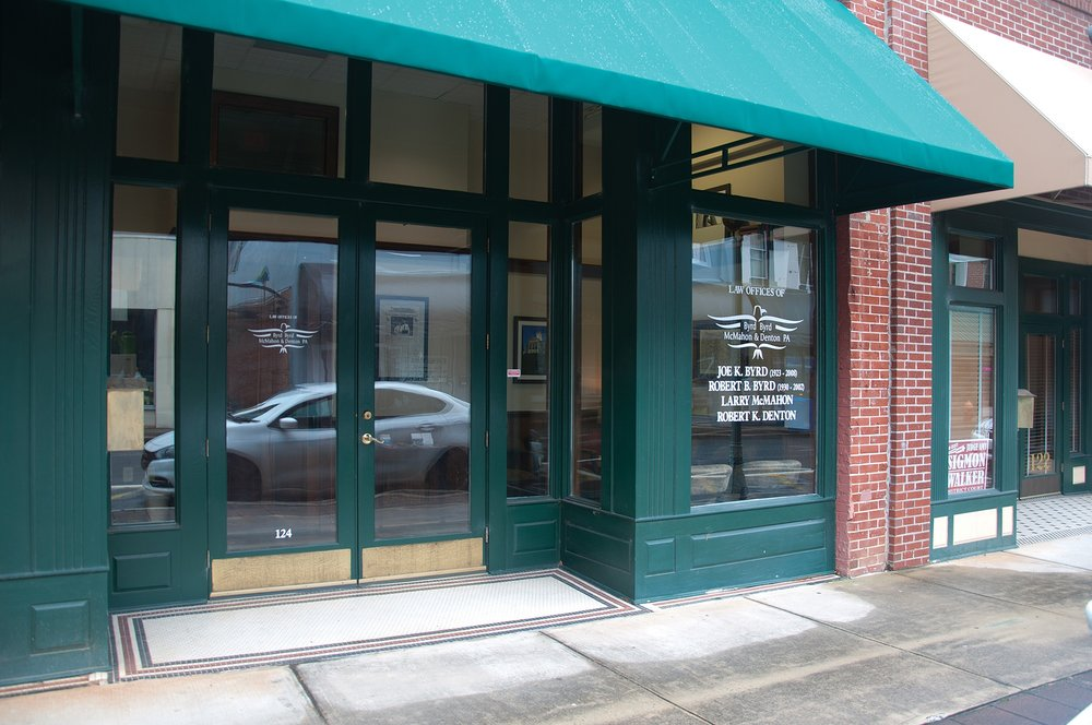 The Byrd Law office is located in downtown Morganton, NC, down the street from Yanni's.