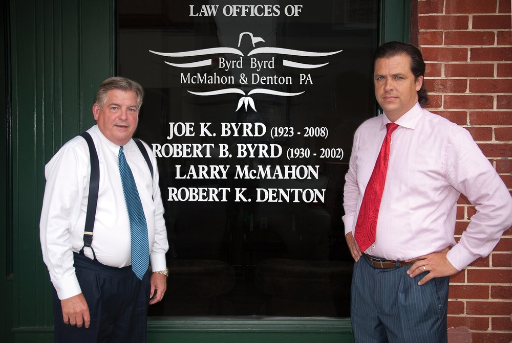 Attorneys Larry McMahon and Rob Denton outside the law offices of Byrd Byrd McMahon & Denton in downtown Morganton, NC.