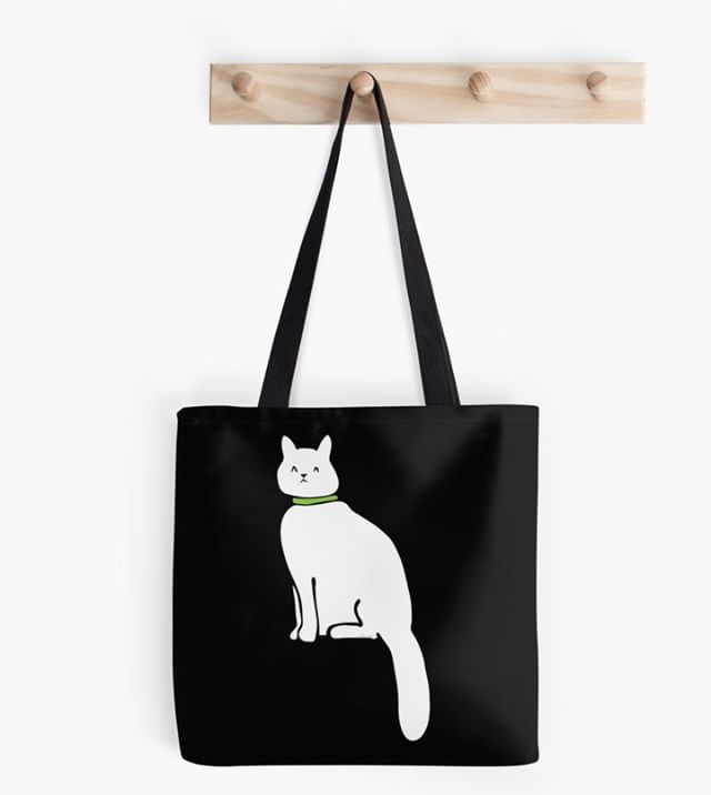 Mimi-looking-smart-with-her-green-collar bag  #redbubble #art #illustration #instaartist #adobeillustrator #procreate #vectorart #vector #lineart #cat