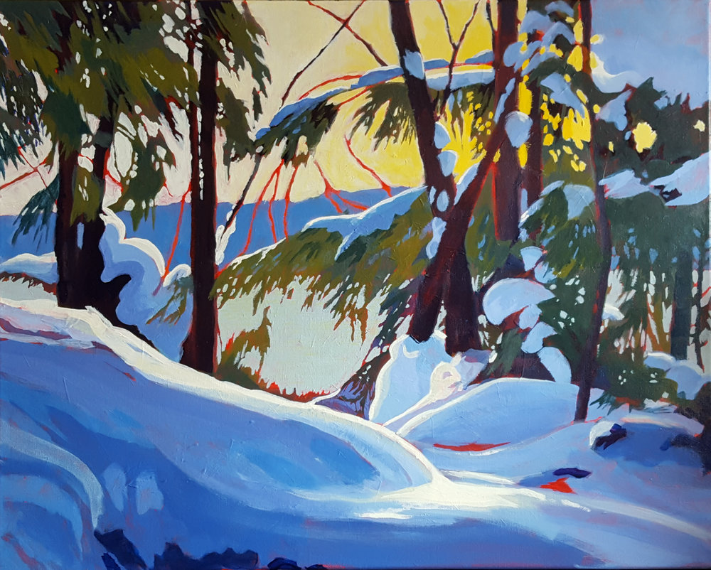 """""""Hemlock Hideaway"""" 36″W x 24″H- Acrylic – for pricing information, please contact marikemacd@gmail.com"""