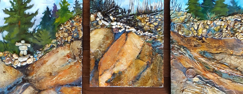 SOLD - Mixed Media Triptych Overall size: 34″W x 14″H