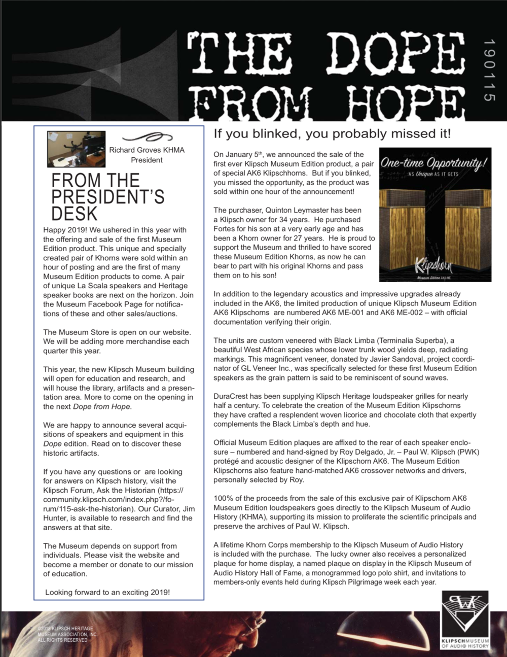 The Dope From Hope 190115 — Klipsch Museum Of Audio History