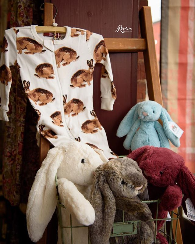 Bunnies bunnies bunnies! Just in, these cute bunny printed jumpers! Find this pattern on other store items like blankets and headbands as well! Stop in before we close today at 3pm or visit us Monday starting at 10am! • #bunnies #spring #kidsclothing #jellycattoys #smallbusiness #goshenindiana #goshen