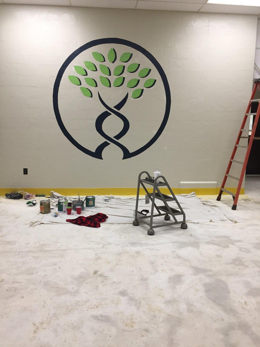 Logo/ Sign painting mural  Manus Bio Inc, Augusta, GA.