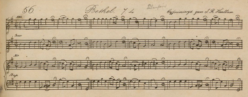 Fig. 4.   Peroriaeth Hyfryd  (1837). Melody is in the third part.