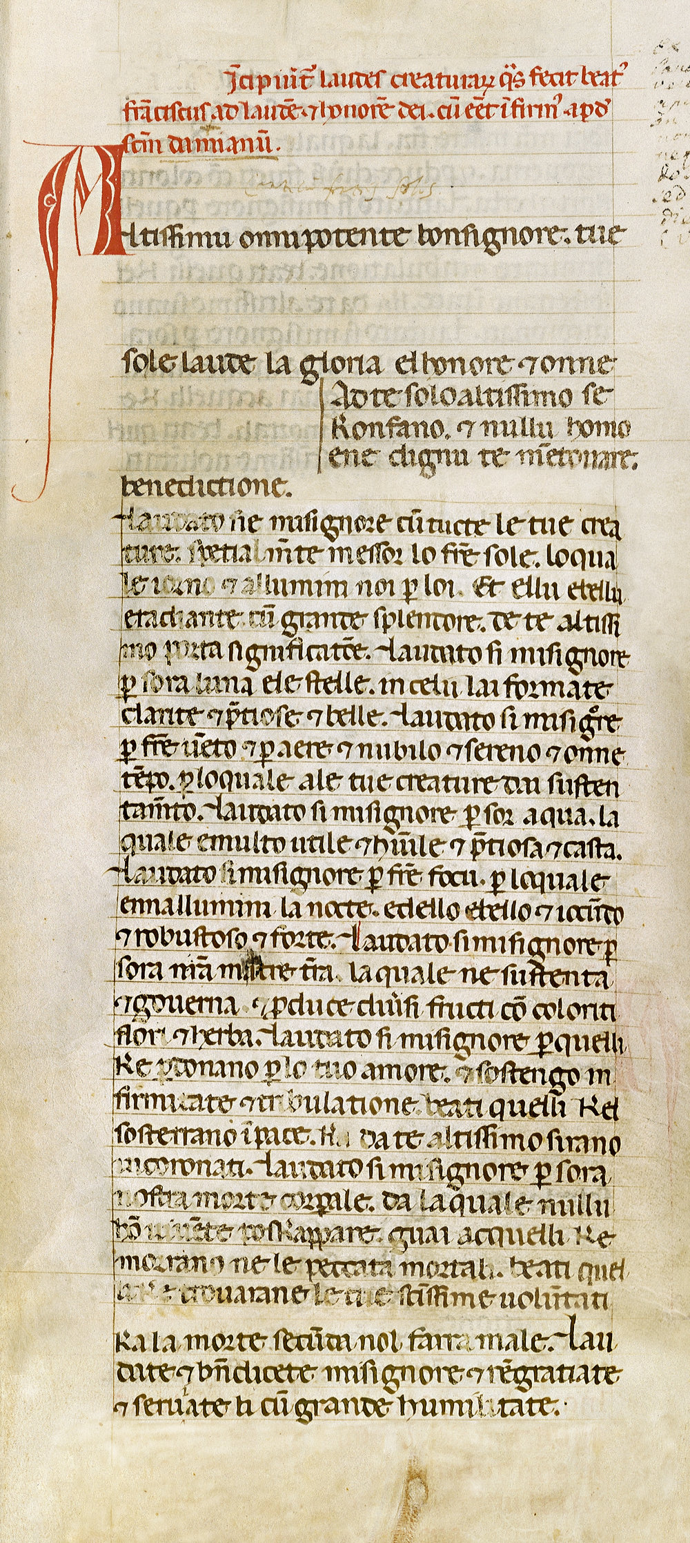 Fig. 1.  Codex 338, fols. 33r-34r, (composite), Biblioteca Communale Fondo Antico San Francesco, Assisi. Image ©1999 Stefan Diller Wuerzburg (www.assisi.de). Used by permission.