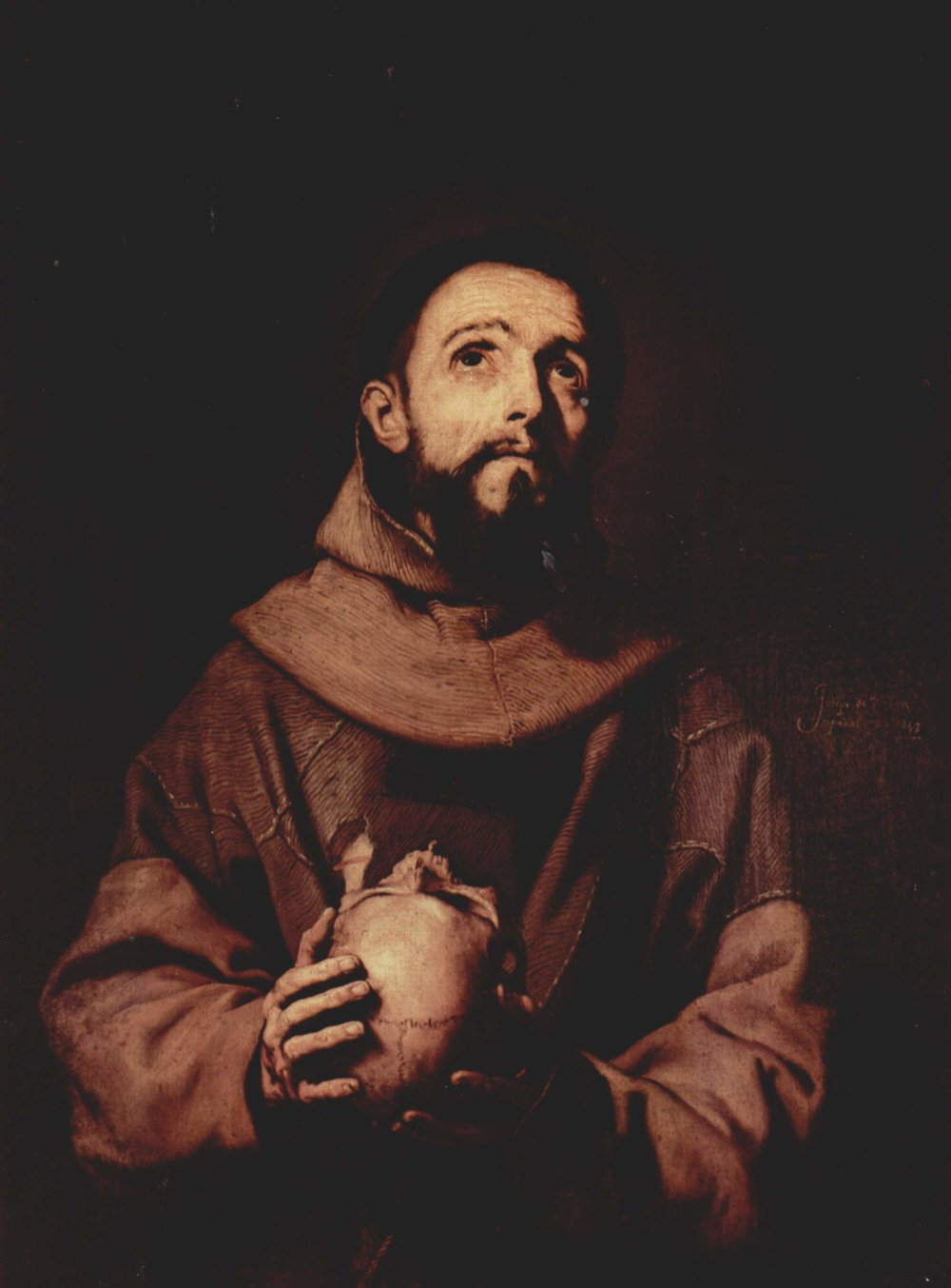 Francis of Assisi , oil painting by Jusepe de Ribera (1643), Palazzo Pitti, Florence, Italy.