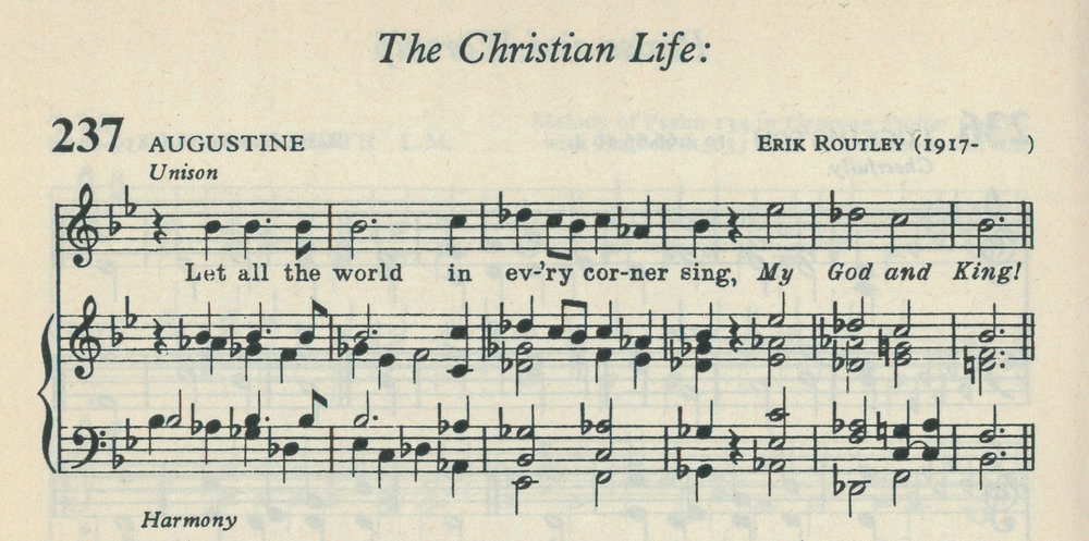 Fig. 3.   Hymns for Church and School  (London: Novello, 1964), excerpt.