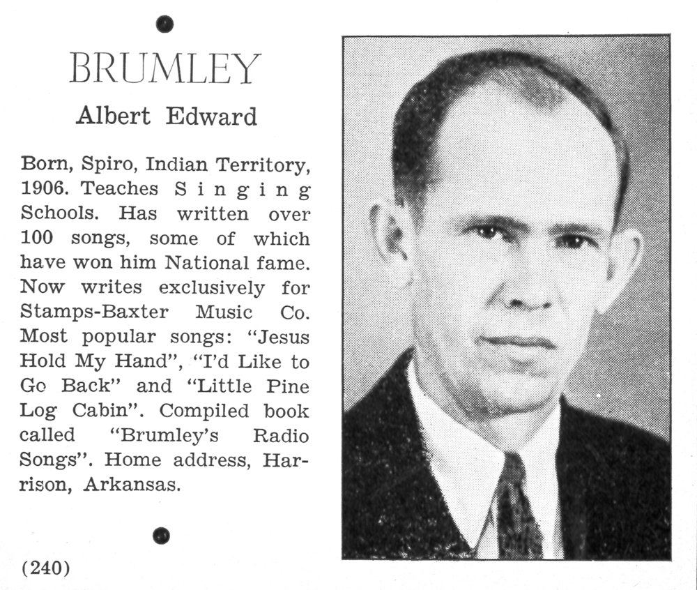 Albert Brumley , from  Radio Song Album  (Dallas: Stamps-Baxter Music Co., 1937).
