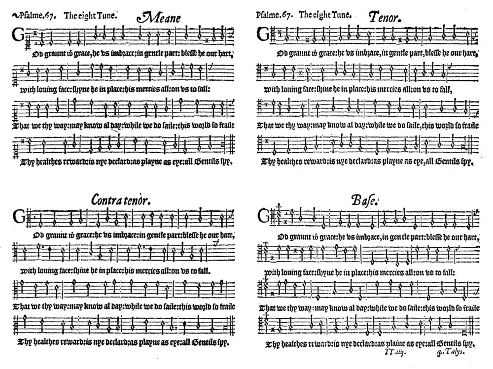 Fig. 6.   The Whole Psalter Translated into English Metre  (London: John Daye, ca. 1567). Melody in the tenor part.