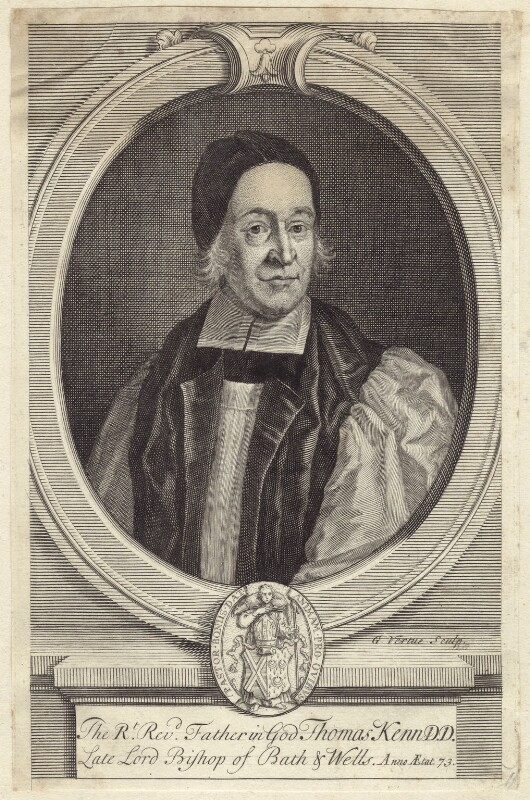 Thomas Ken,  engraving by George Vertue, based on the oil portrait by F. Scheffer,  National Portrait Gallery (London) .